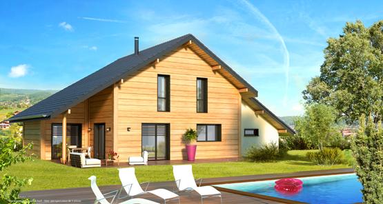 maison en bois avec toit tombant esprit chalet
